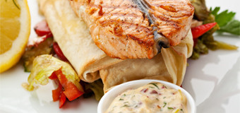grilled-salmon-on-vegetable-tortilla-with-dill-sauce