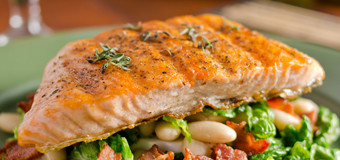 grilled-salmon-on-beans-with-kale