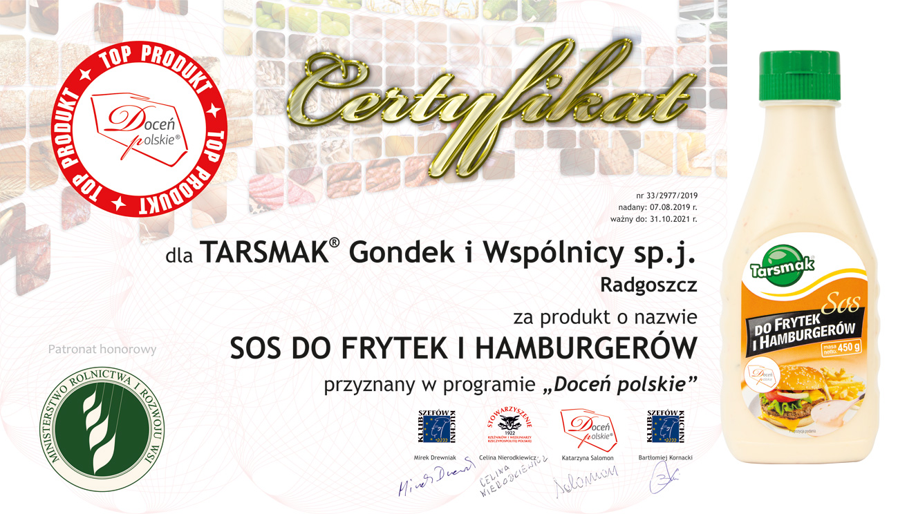 Tarsmak sos do frytek i hamburgerow